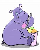 Funny hippo eating ice cream