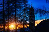 Mountain Church At Sunset