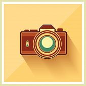 DSLR Professional Camera Icon On Retro Vintage Background vector