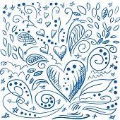Sketchy romantic doodles, love design elements