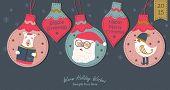 Greeting card, Christmas card with Santa Claus polar bear and little bird