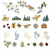 fun, summer, spring, travel, illustration, vector set icon