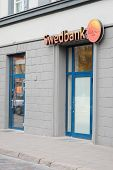image of a VILNIUS,LITHUANIA, November 17, 2014: Swedbank sign  in Vilnius, Lithuania. Swedbank is a bank for many households and businesses and is the leading bank in Estonia, Latvia and Lithuania.