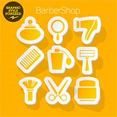 Vector set of fresh and colorful sticker icons of Barber shop. File contains graphic styles available in Illustrator