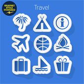 Vector set of fresh and colorful sticker icons of traveling and touristic. File contains graphic styles available in Illustrator