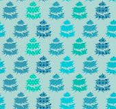 Seamless blue  pattern with winter trees