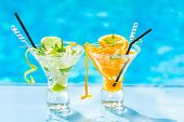 Fresh Lime and Orange Mojito with twist by the swimming pool