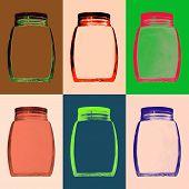 Multicolored Empty Glass Jar Set.