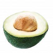 Fresh  Sliced Avocado Isolated On A White Background.  Ripe Beautiful Half Avocado Macro