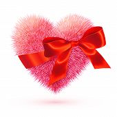 Pink fluffy heart with red silky bow