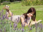 young woman in lavender fields