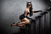 Sexy Woman In Catwoman Suit Lying On Stairs
