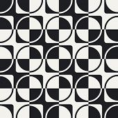 Abstract Ring and Square Pattern. Vector Seamless Background in Black and White