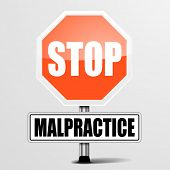 detailed illustration of a red stop malpractice sign, eps10 vector
