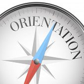 picture of orientation  - detailed illustration of a compass with orientation text - JPG