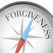 detailed illustration of a compass with forgiveness text, eps10 vector