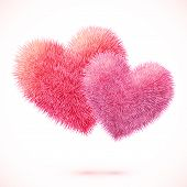Pink vector isolated fluffy hearts pair