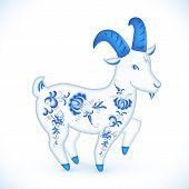 Blue cartoon goat in Russian gzhel style