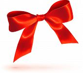 Red glossy vector bow on white background