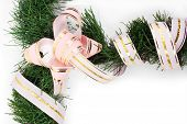 Branch Of Christmas Tree Wrapped A Pink Ribbon