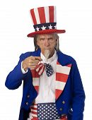 stock photo of uncle  - Classic Uncle Sam poster pose on a white background with Uncle Sam pointing his finger at the cmaera - JPG