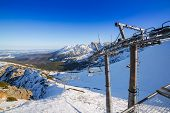 Ski lift on Kasprowy Wierch in Tatra mountains, Poland