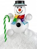 Cheerful snowman with black hat and striped stick isolated on white background