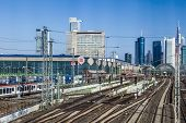 Entrance Of Central Station In Frankfurt With Skyline