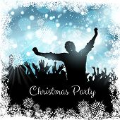 Silhouette of a party crowd on a Christmas background
