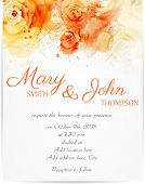 Wedding Invitation With Abstract Roses