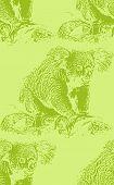 vector vintage illustration of a koala bear. seamless animal pattern