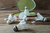 Set Of Badminton. Paddle And The Shuttlecocks