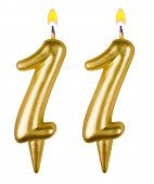 Birthday Candles Number Eleven Isolated