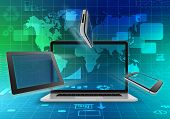 laptop, tablet and mobile phone on abstract background with world map.