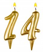 Birthday Candles Number Fourteen Isolated