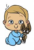 Funny vector cartoon colorfull baby with his dog. Vector illustration