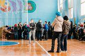 Unrecognizable Belarusian Secondary School Pupils Girls Watching