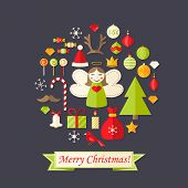 Christmas Card With Flat Icons Set And Angel Dark Blue