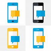 Mobile Notification Flat Icons Set