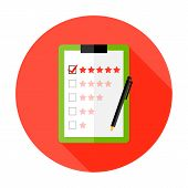 Quality Check Clipboard Flat Circle Icon