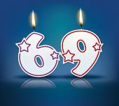 Birthday candle number 69 with flame - eps 10 vector illustration