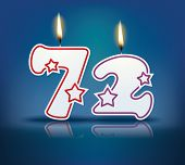 Birthday candle number 72 with flame - eps 10 vector illustration