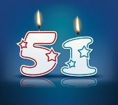 Birthday candle number 51 with flame - eps 10 vector illustration
