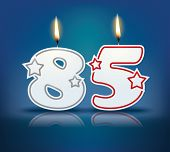 Birthday candle number 85 with flame - eps 10 vector illustration