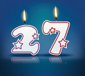 Birthday candle number 27 with flame - eps 10 vector illustration