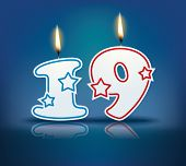 Birthday candle number 19 with flame - eps 10 vector illustration