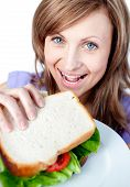 Beautiful Woman Holding A Sandwich