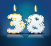 Birthday candle number 38 with flame - eps 10 vector illustration