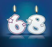 Birthday candle number 68 with flame - eps 10 vector illustration