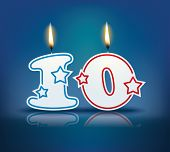 picture of candle flame  - Birthday candle number 10 with flame  - JPG